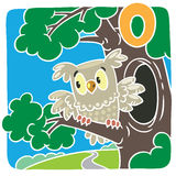 Little owl. Alphabet O. Children vector illustration of little funny owl sitting on the branch of an oak tree. Alphabet O vector illustration