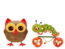 The little owl and a caterpillar on a bicycle made from vegetabl Stock Photos