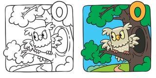 Little owl coloring book. Alphabet O Stock Photos