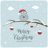 Little Owl with Red Balls and Lettering Merry Christmas on Winter Background