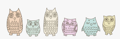 Little owls banner. Banner with little colorful owls Stock Image