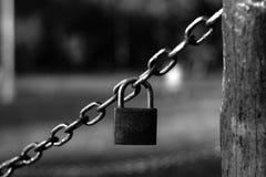 Little padlock. Little black padlock hanging on chains Royalty Free Stock Photos