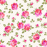 Little painted roses. Cute painted roses over dotty seamless background Stock Photography