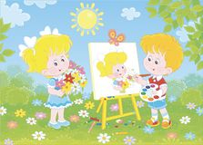 Little painter with a beautiful portrait. Little boy drawing a portrait of a cute smiling girl with a bouquet of colorful flowers in a green garden on a sunny stock illustration
