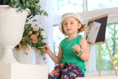 The little painter with brush Royalty Free Stock Photos
