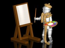 Little painter with easel Royalty Free Stock Photography