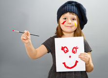 Free Little Painter Girl With A Drwan Smile Isolated On Grey Stock Photo - 97710940