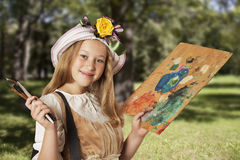 Little painter outdoors Royalty Free Stock Photos
