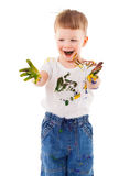 Little painter stained in paint Royalty Free Stock Image