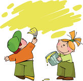 Little painters. Boy and girl with paint, hand drawn illustration Stock Photography