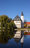 Little palace. Typical little castle and lake in germany stock image