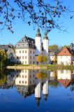 Little palace. Typical little castle on a lake in germany stock photos