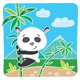 Little panda on bamboo Royalty Free Stock Photo