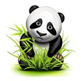 Little panda. And bamboo on grass vector illustration
