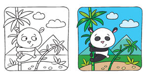 Little panda coloring book Royalty Free Stock Image