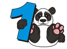 Little panda hold a number one Royalty Free Stock Photo