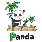 Little Panda On Bamboo, For ABC. Alphabet P