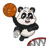 Little panda is playing basketball royalty free illustration