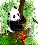 The little panda on the tree. Abstract background to create banners, covers, posters, cards, etc Stock Photos