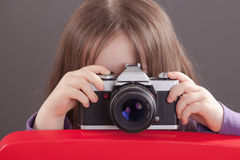 Little Paparazzi with retro Cam Royalty Free Stock Image