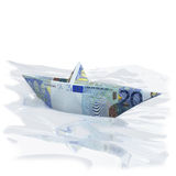 Little paper boat with 20 euros Stock Image
