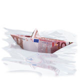 Little paper boat with 10 euros Royalty Free Stock Images