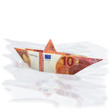 Little paper boat with new 10 euros Royalty Free Stock Images