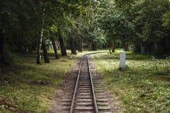 Little park railroad. Railroad constructed for children in central park of Krasnoyarsk Stock Image