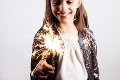 Little Party Girl With A Sparkler Royalty Free Stock Photos