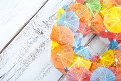 Little party umbrellas in circle Royalty Free Stock Photo