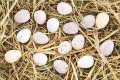 Little candy easter eggs on straw Royalty Free Stock Image