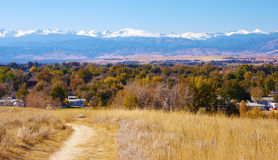 Little Path With View of Snowy Mountains Stock Image