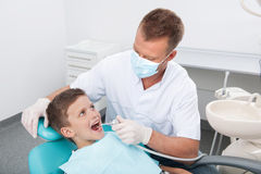 Little patient at dentist office. Royalty Free Stock Images