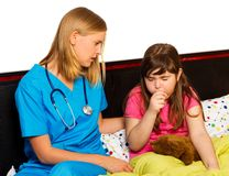 Little Patient With Severe Cough Royalty Free Stock Image