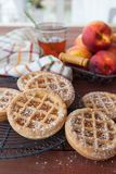 Little peach pies made with short crust stock image