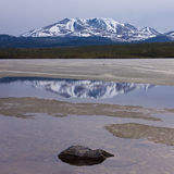 Little Peak reflection Fox Lake Yukon T Canada Stock Photography