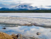 Little Peak reflection Fox Lake Yukon T Canada Stock Images