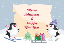 Little penguins background. Christmas greeting card with the image of cute penguins. Children`s vector background Stock Images