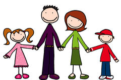 Little people. Happy family of four stock illustration
