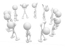 Little People, Circle. Small 3d character figures, over white, isolated Royalty Free Stock Photo