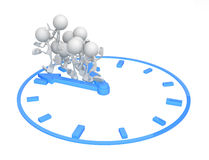 Little People, Deadline Clock. Small 3d character figures, over white, isolated Stock Photo