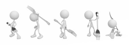 Little People, Forks Stock Photography