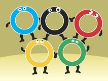Little people. Men in the color of the Olympic rings. Vector format Royalty Free Stock Photos