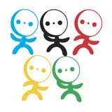 Little people. Men in the color of the Olympic rings. Vector format Royalty Free Stock Photography