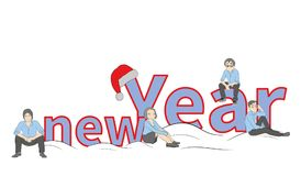 Little people near the inscription of the new year. concept of New Year`s holidays. illustration. Little people near the inscription of the new year. concept of vector illustration