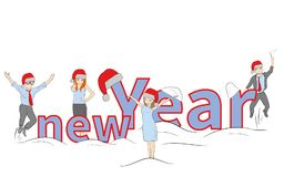 Little people near the inscription of the new year. concept of New Year`s holidays. vector illustration. Little people near the inscription of the new year vector illustration