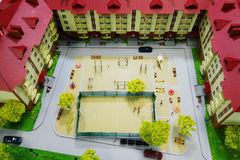 Little people toys playing basketball Royalty Free Stock Photo