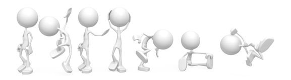 Little People, White. Small 3d character figures, over white, isolated Stock Photos