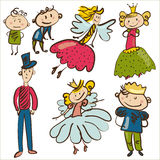 Little personages from magic kingdom isolated  illustratio Royalty Free Stock Images