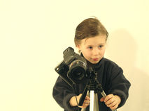 Little photografer. Sweet child as a photographer stock photography